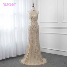 YQLNNE Halter Champagne Prom Dresses Sleeveless Mermaid