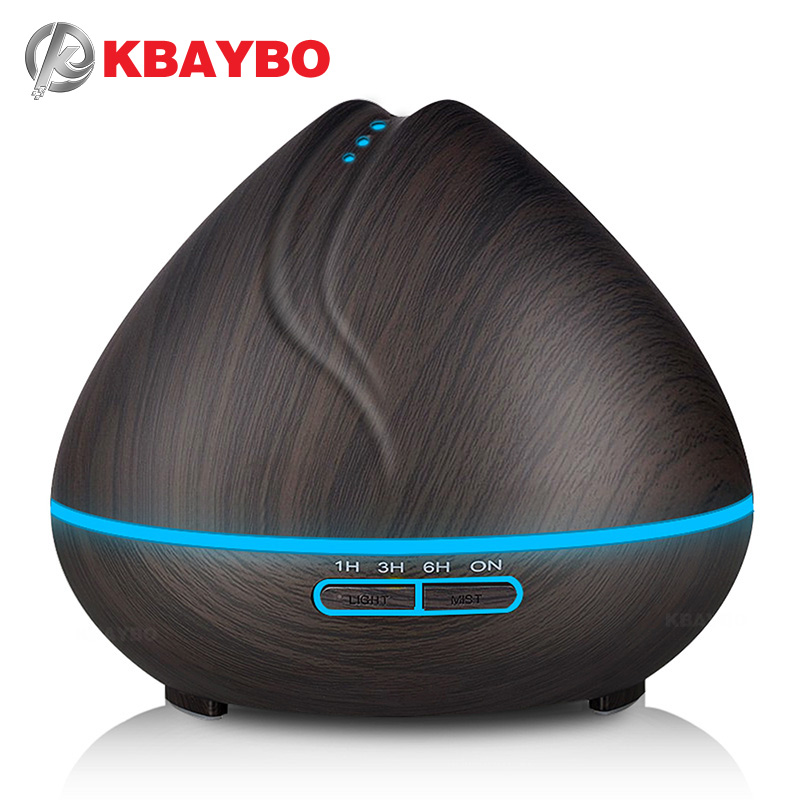 Kbaybo 400 ml aroma Aceites difusor ultrasonidos humidificador de aire purificador con grano de madera led luces para oficina dormitorio