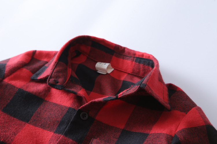 Këmishë vjeshte 2017 për djem dhe vajza Bluzë me pllaka të kuqe - Veshje për fëmijë - Foto 3