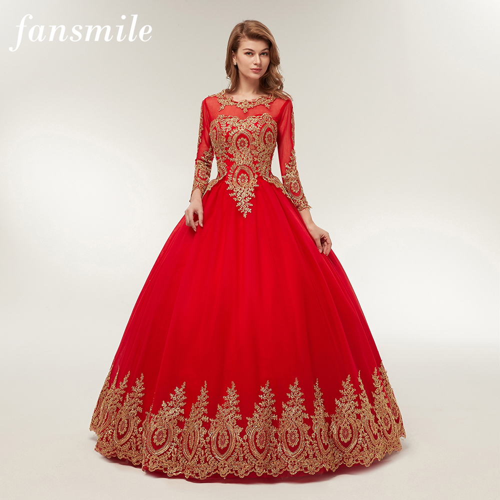 Fansmile Free Shippping Vintage Lace Red Ball Wedding Dresses 2019 Vestido de Novia Customized Plus Size