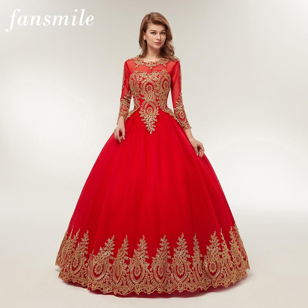 5f9523626 Cheap Fansmile envío gratis Vintage de encaje de bola roja vestidos de Novia  2019 Vestido de