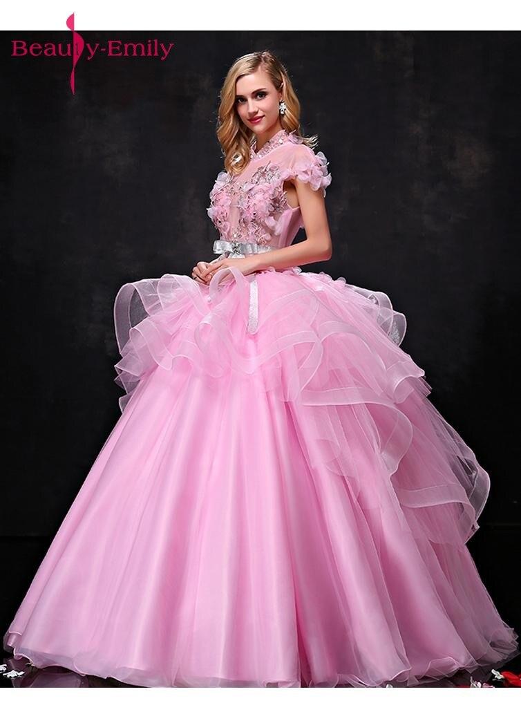 Գեղեցկուհի Էմիլի Pink Long Ball Gown Quinceanera - Հատուկ առիթի զգեստներ - Լուսանկար 4