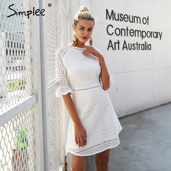 Simplee Vintage hollow out lace dress women Elegant half sleeve midi white  dress Autumn chic party sexy dress vestidos robe robe a bouton lin
