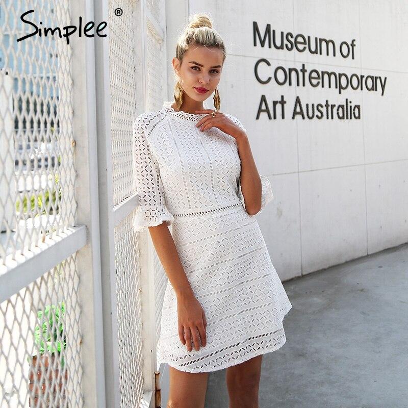 Simplee Elegante hohle heraus spitze kleid frauen Halbe hülse sommer stil midi weiß kleid 2018 Frühling kurze casual kleid vestidos