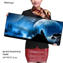 Mairuige Wolf Moon Big Gamer Mouse Pad 700X300mm Speed Gaming Locking Edge Laptop Mats for Cs Go Dota Computer Players