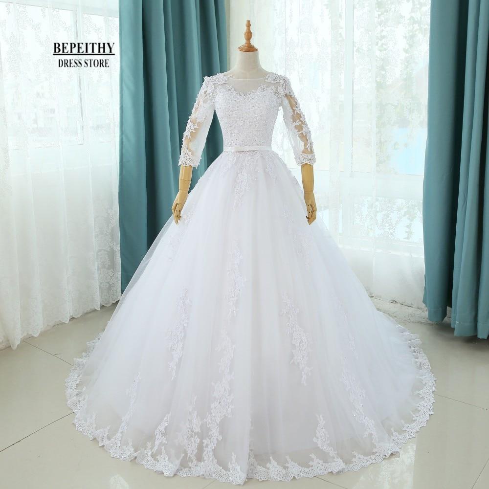 Prave fotografije Scoop Ball Ball Poročne obleke s krilom Poročne obleke Kapela Vlak po meri poceni Neveste Obleka Vestido De Novia