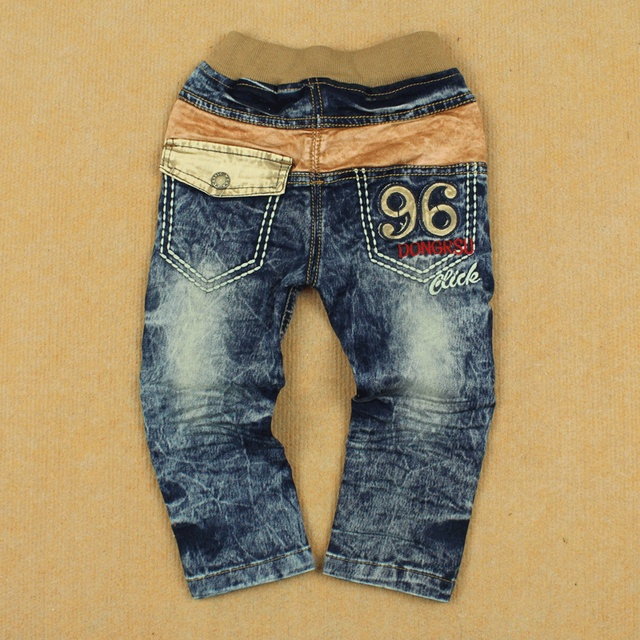 Handsome male spring child trousers water wash slim all-match openable-crotch jeans trousers pants small children's pants