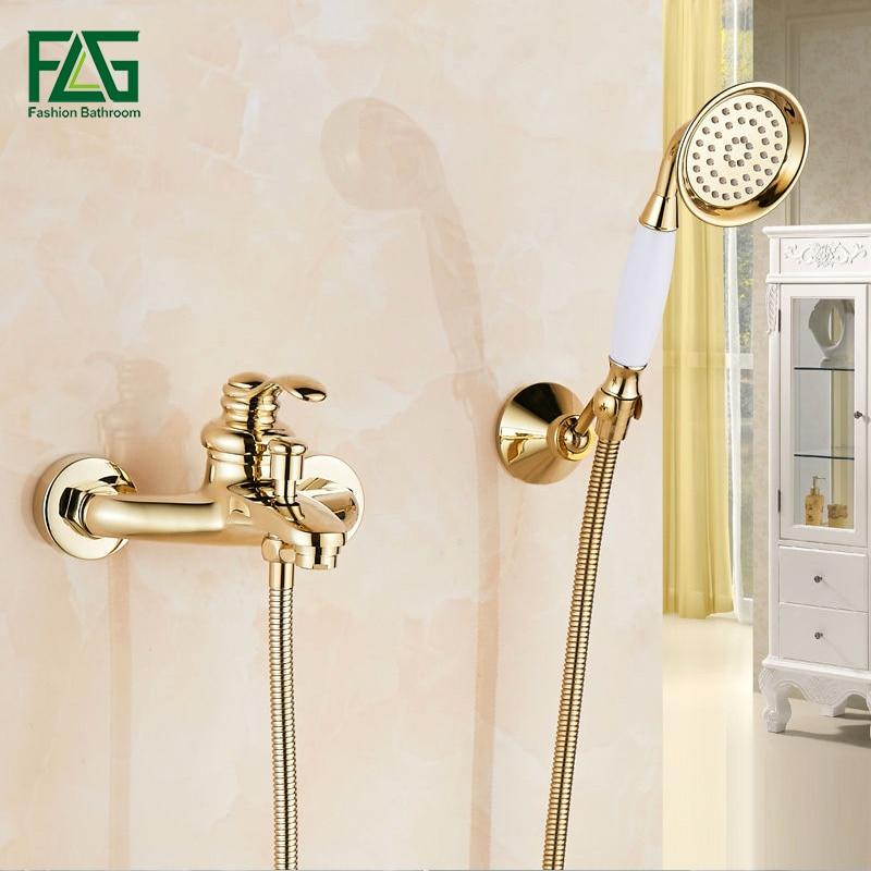 FLG набор для душа, ванная комната, ванна, настенный, ручной, с одной ручкой, латунь, позолоченный, набор для душа, набор для душа HS03