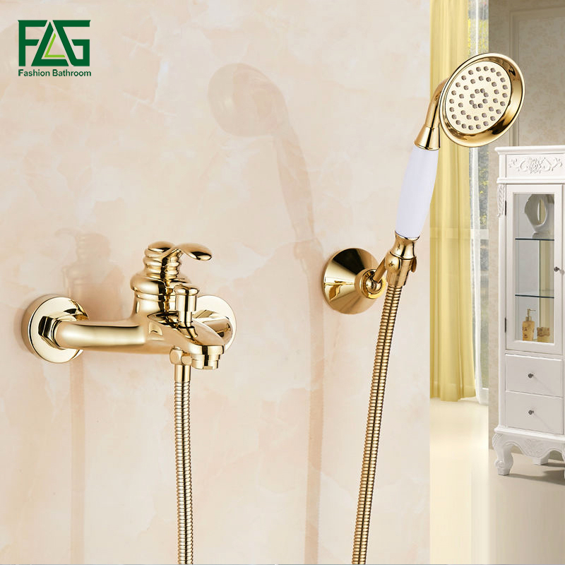 FLG Shower Set Bathroom Bath Wall Mounted Hand Held Single Handle Brass Gold Plated Shower Head Kit Shower Faucet Sets HS03