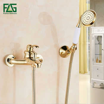 FLG Shower Set Bathroom Bath Wall Mounted Hand Held Single Handle Brass Gold Plated Shower Head Kit Shower Faucet Sets HS03 - DISCOUNT ITEM  40% OFF All Category