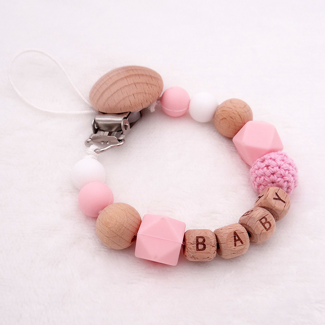 Personalized Name Silicone Wood Pacifier Clips