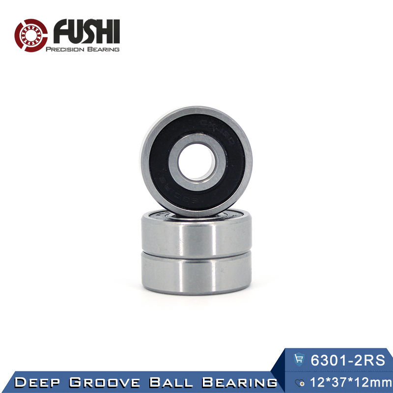 6301RS Bearing ABEC-3 (4 PCS) 12*37*12 mm Deep Groove 6301-2RS Ball Bearings 6301RZ 180301 RZ RS 6301 2RS EMQ Quality 6312rs bearing abec 3 1 pcs 60 130 31 mm deep groove 6312 2rs ball bearings 6312rz 180312 rz rs 6312 2rs emq quality