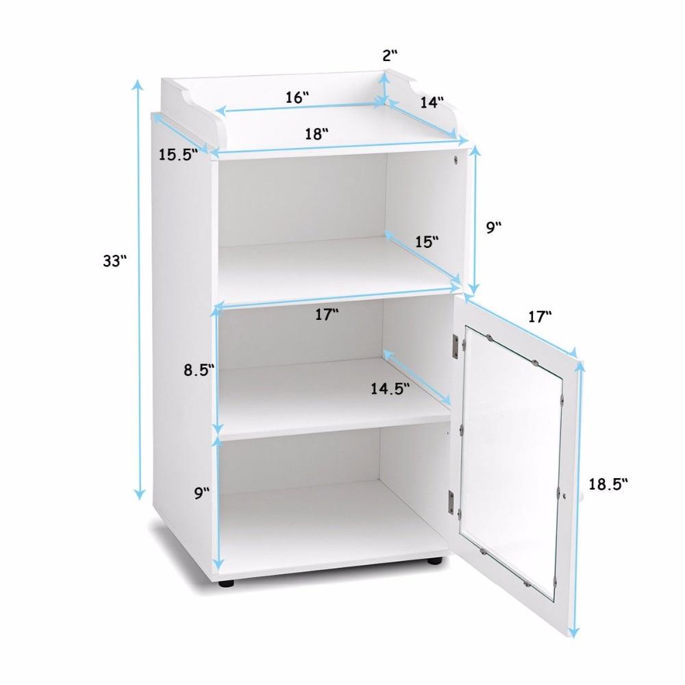 Giantex Bathroom Floor Cabinet End Table Storage Adjustable Shelf Organizer W/Door White HW59316 7