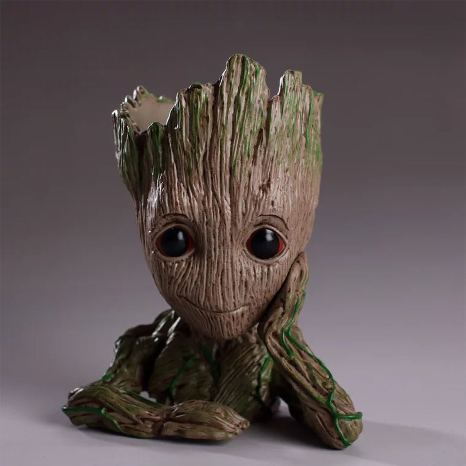 Envío de la gota bebé Groot maceta figuras de acción guardianes de la galaxia juguete árbol hombre lindo modelo de juguete olla pluma