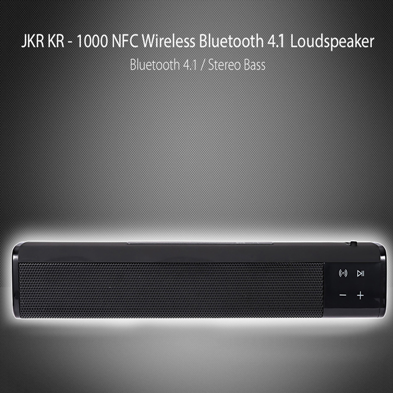 Original JKR KR-1000Bluetooth Speaker Super Bass Stereo Wireless Portable Loud speaker NFC AUX TF Card Sound Bar for Phone kr8800 portable bluetooth v3 0 led speaker wireless nfc fm hifi stereo loudspeakers super bass caixa se som sound box for phone