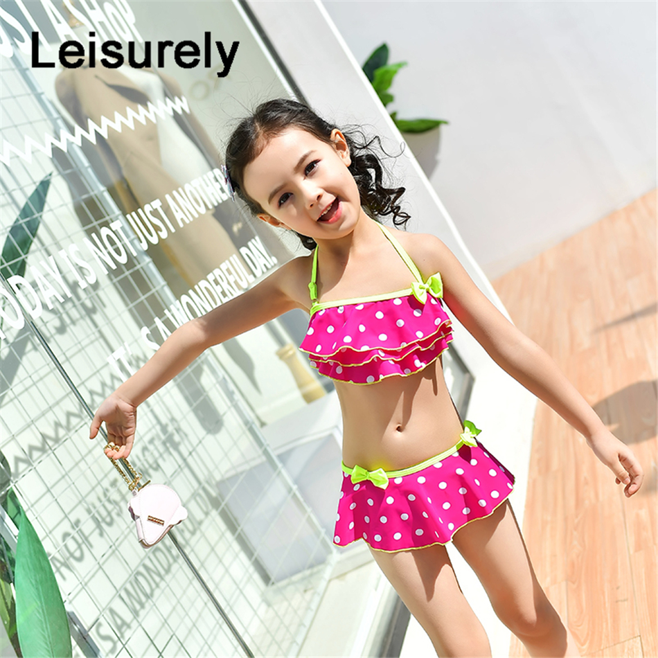 7e12f26b7c Little Girls Two piece Polka Dots Swimsuit Kids Baby Girl Bikini Suit  Swimwear Bathing Swimming Swimmer Costume Clothes-in Children's Two-Piece  Suits from ...