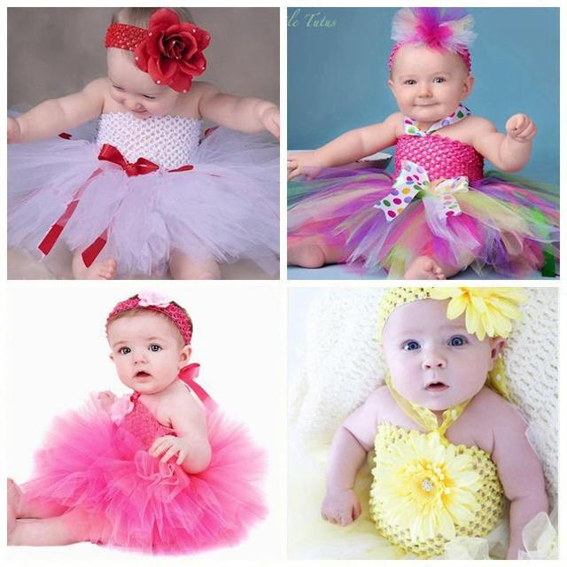 Baby Girl Wedding Party Tutu Dresses Flower Headband Toddler Infants  Flower Girl Dress Baby Clothing Christmas Tutu NB to 2T