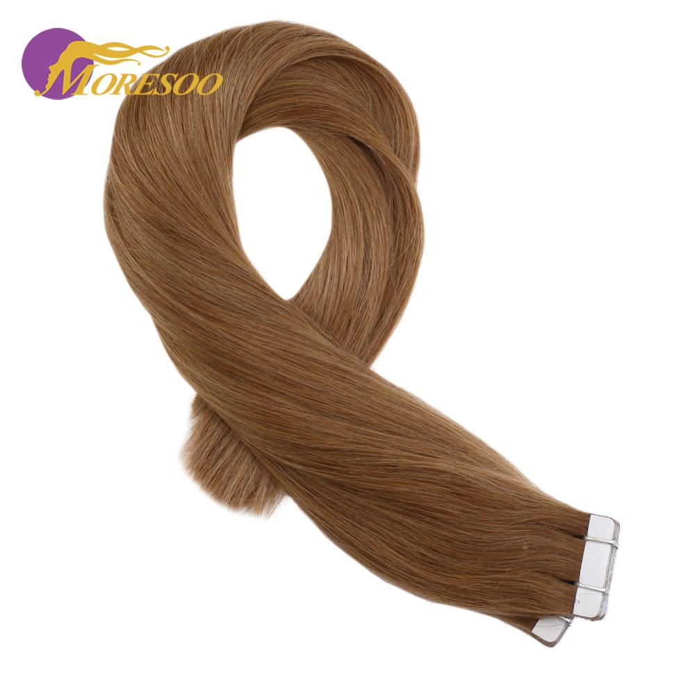 Moresoo Tape In Hair Extensions 100% Real Remy Brazilian Human Hair Golden Blonde Color #17 Glue In Hair Extensions 2.5g/pcs