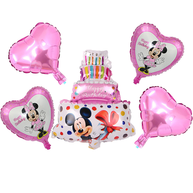 Aliexpress Buy 5pcsset Mickey Cake Pink Blue Minnie Mouse