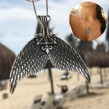 Mystical Mermaid Pendant Necklace Antique Silver Whale Tail Charm Chokers Necklaces