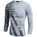 2017 Новая Коллекция Весна мужская Мода Топы Тис С Длинным Рукавом США Американский Флаг Печатный Топы Тис мужская Футболка Фитнес Camiseta H7751