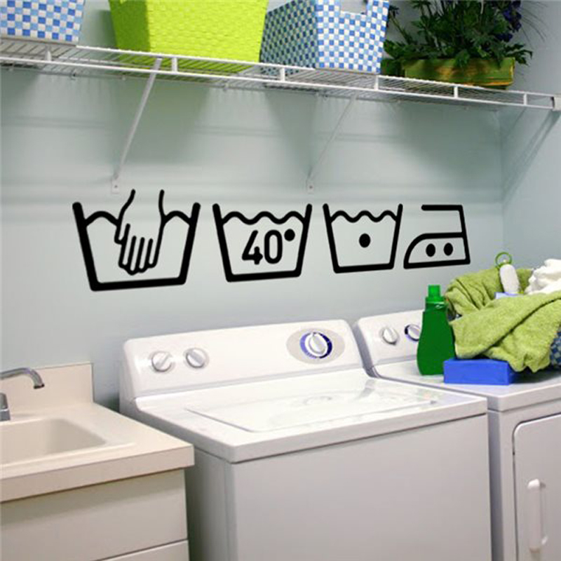 Vinyl Wall Decals Cleaning instructions Laundry room Bathroom Wall stickers Home Decor Toilet Decal DIY Art Murals JG2383