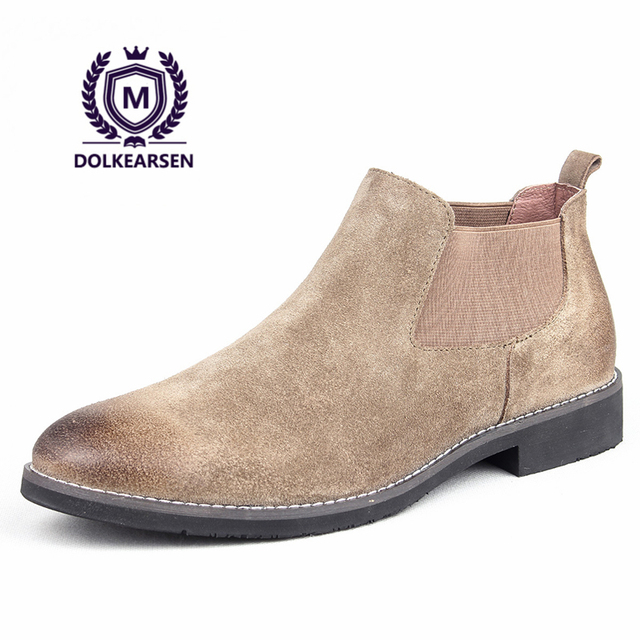edc1283c2f584d DOLKEARSEN New Autumn Chelsea Boots Men Cow Suede Pointed Toe Kanye West  Boots Winter Velvet Fashion Retro Genuine Leather Shoes