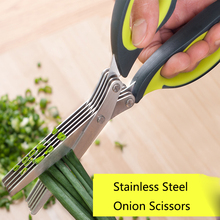 5 Layers Stainless Steel Household Scissors Multi-functional Onion-cut Knife Sharp Shears Cut Herb Spices Kitchen