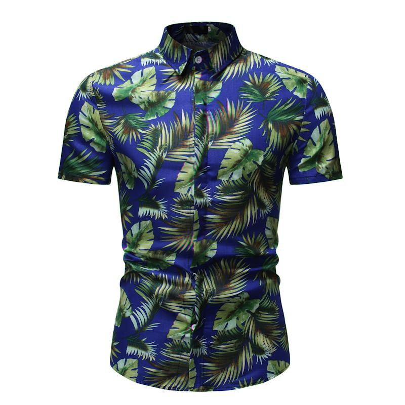 Beach leisure Hawaiian Shirt Men Flower Fashion Floral Short sleeve Summer Blouse Dress New