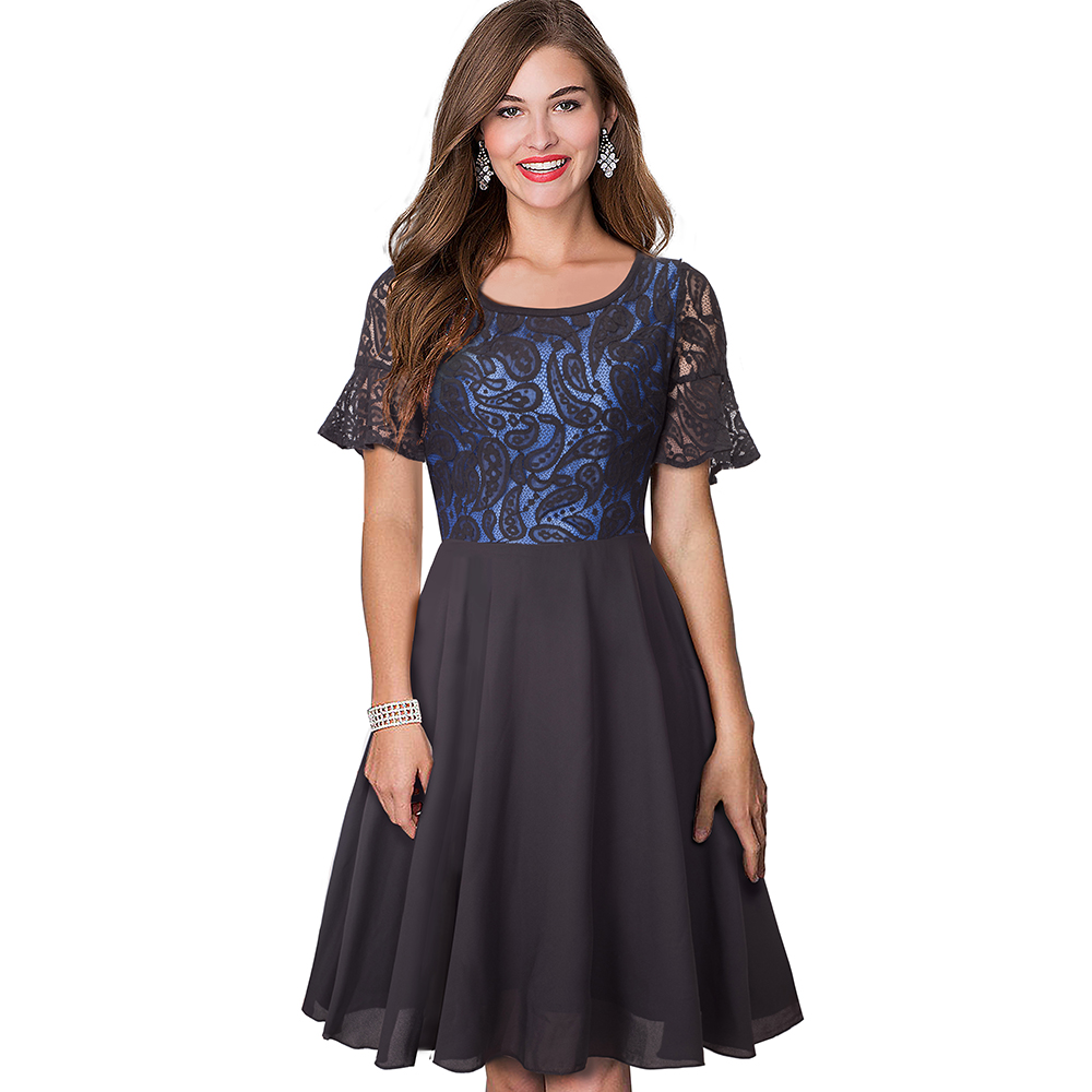 Ladies Gowns: Casual O Neck Flare Sleeve Lace Dress Elegant Ladies Black