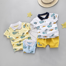 DIIMUU 2pcs Toddler Boy Clothes kids Summer Fashion Cotton Set Print Casual Suit Solid Shorts for Children Clothing