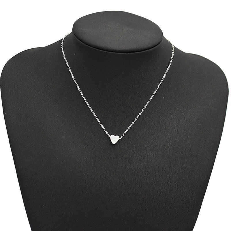 Lusion Jewelry Fashion Gold Sliver Color Simple Heart Choker Necklace Love Necklaces & Pendants Woman Extendy Bohemian Bijoux