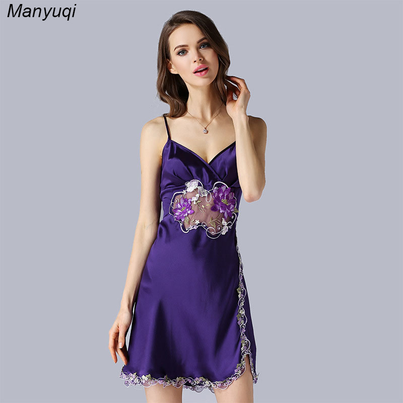 ᗕ100% natural silk womens nightgown chest and bottom embroidery ...