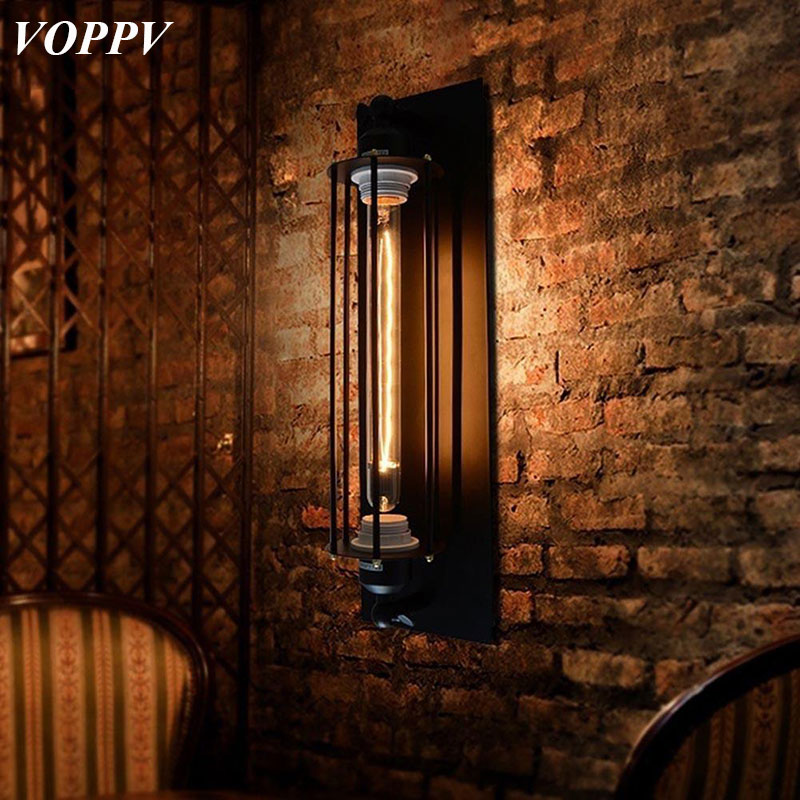VOPPV Vintage Industrial Wall Lamp Light Iron Wall Sconces Lighting for Bedroom Kitchen Corridor Flute Retro Style Bedside Lamp new arrival retro style restaurant coffee shop decoration iron wall lamp 40w e27 corridor bedside wall sconces lighting