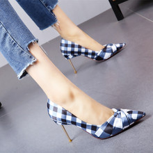 8aa94aa7d5dd Kmeioo 2019 Fashion Gingham Shoes Woman Pointed Toe High Heels Women  Slip-On Wedding Pumps