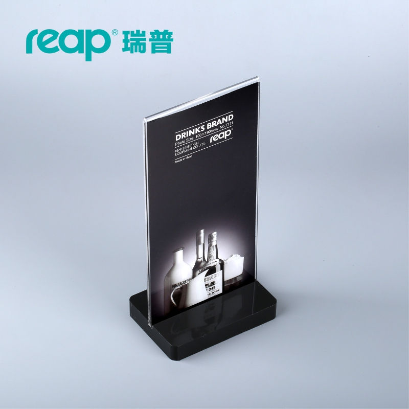Reap crystal acrylic T-shape desk sign holder card display stand table menu service Label drink brand conference meeting 29 7 21cm a4 black bottom t strong magnetic advertising sign card display stand acrylic desktop menu price label holder rack