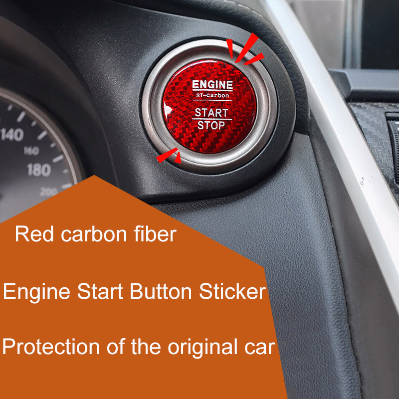 QHCP Car Styling Engine Start/Stop Button Sticker Carbon Fiber Engine Switch Cover Decorative For LEXUS NX/RX/ES FREE SHIPPING easyguard pke car alarm system remote engine start stop shock sensor push button start stop window rise up automatically