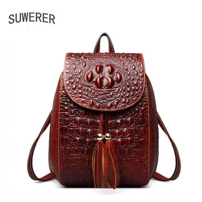 SUWERER 2018 New Genuine Leather women backpack luxury women bags designer bags women backpack fashion Crocodile pattern