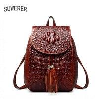 SUWERER 2019 New Genuine Leather women backpack luxury women bags designer bags women backpack fashion Crocodile pattern