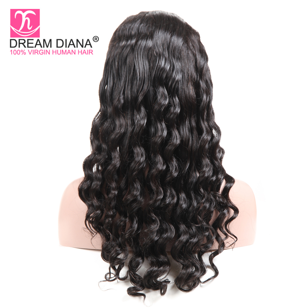 DreamDiana Brazilian Full Lace Wigs Bouncy Curly Wigs 150 Density Human Hair Full Lace Wigs Hand Tied Glueless Wigs Pre Plucked