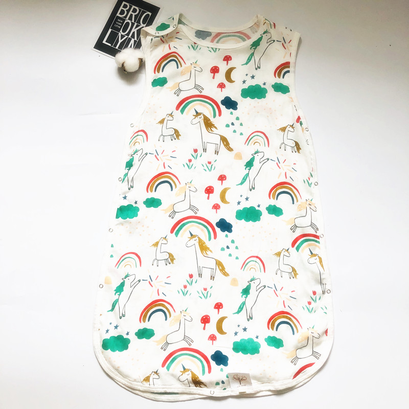 1layer70% Bamboo+30% Cotton Newborn Sleeveless Baby Sleeping Bag Cartoon Bear Muslin Kids Warm Sleeping Bag Printing Pattern S2