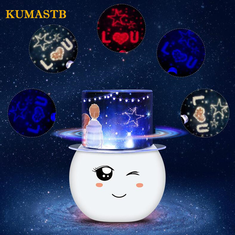 Colorful Projection Lamp Birthday Lover Star Projector 360 Degree Rotate Led Night Lamp USB Abajur Luminaria Kids Christmas Gift