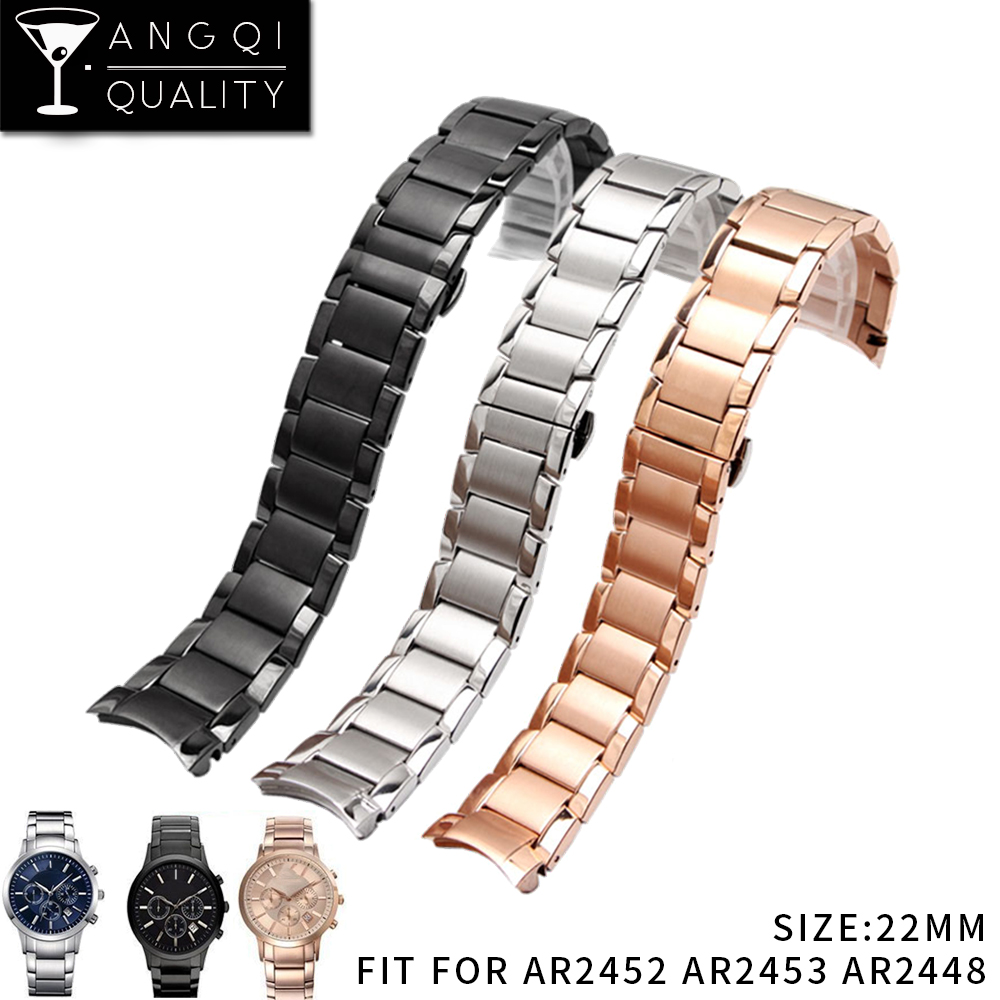 Watch Bands Stainless Steel For Armani AR2452 AR2453 AR2448 Watch Strap Watchband Butterfly Buckle Scrub Black Silver Rose Gold