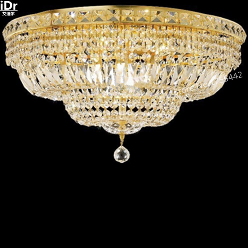 gold Ceiling font b Lights b font flush mounted lighting luxury crystal lamps hotel bedroom lamp