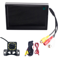 5.0 Color TFT LCD Car Parking Monitor Assistance Monitors DC 12V Car Monitors With 12 LED Light Night Rear View Camer