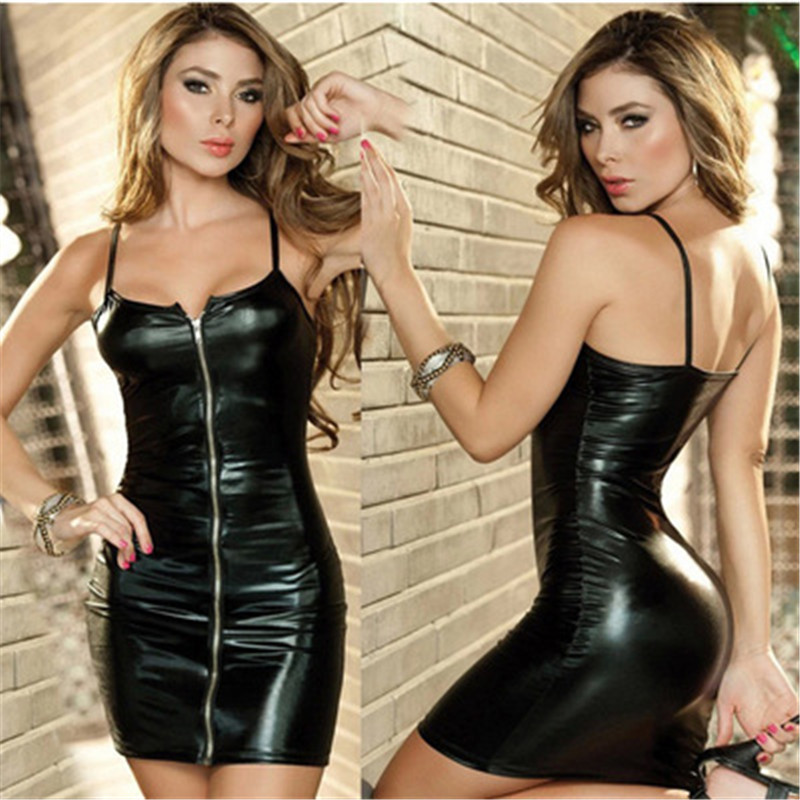 <font><b>Sexy</b></font> Babydolls for Women Hot Faux <font><b>Leather</b></font> Black <font><b>Dress</b></font> With Panty Open Bra Latex Catsuit Club Dance erotic lingerie Nightdress image