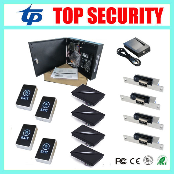 Free shipping ZK C3-400 access control system 4pcs KR100E card reader,touch exit button,electric strike and 1pc card register flex super big 80 195