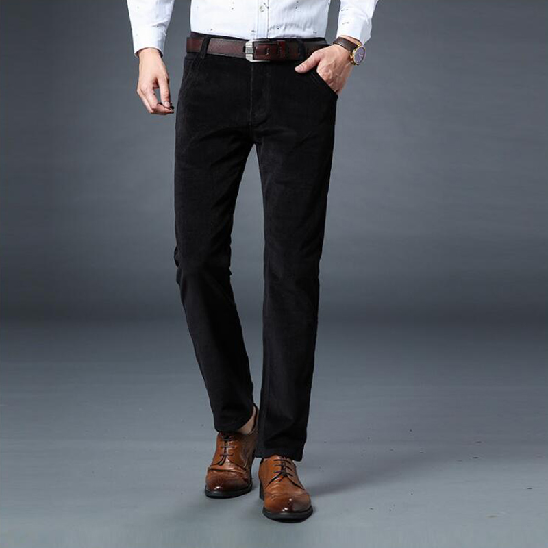 New Autumn Winter Fashion Men Jeans Slim Fit Thick Warm Corduroy Pants Fleece Trousers Male Casual Business Style Long Pants Men in Jeans from Men 39 s Clothing