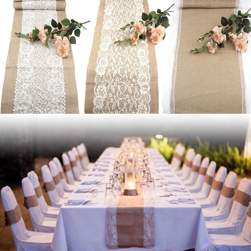 10pcs wedding table runners vintage natural burlap lace hessian table runner - Decoration table mariage nature ...