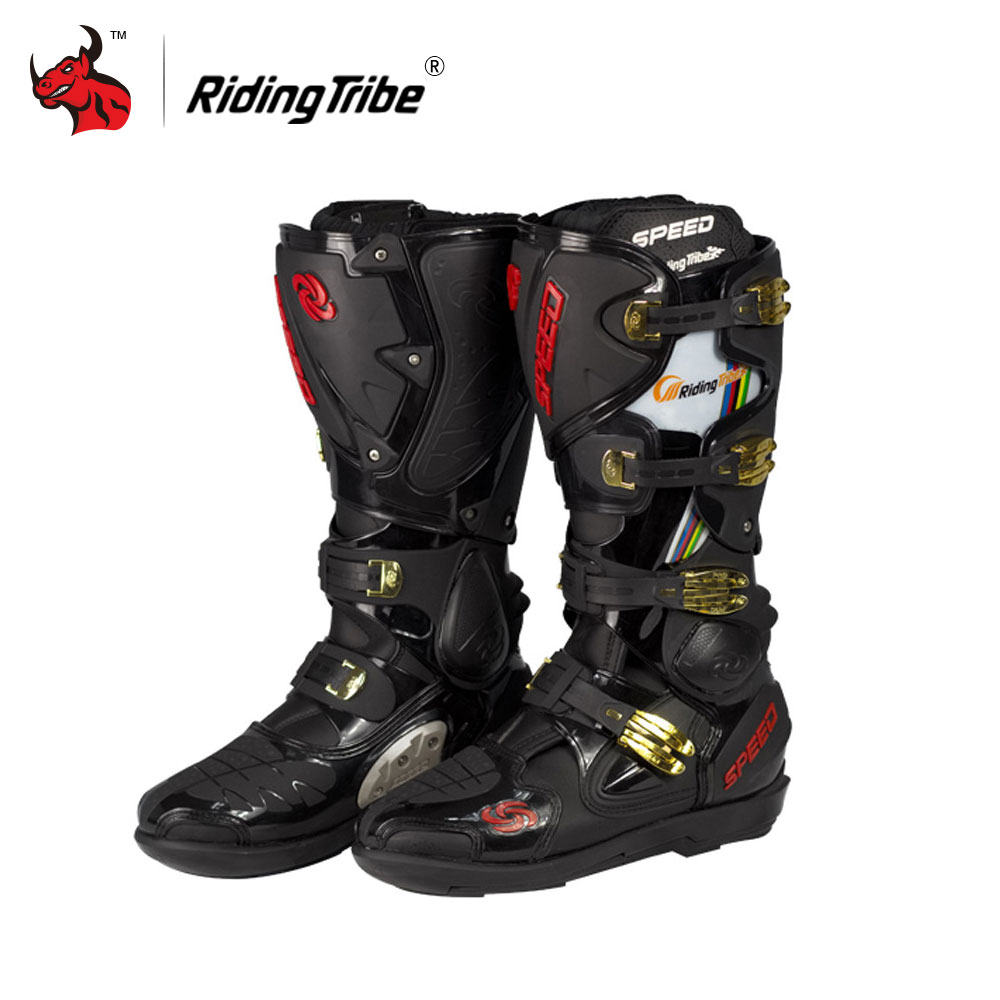 Riding Tribe Speed Motorcycle Boots Leather Motorcycle Long Shoes Off-road Motocross Boots Bota Para Motocicleta 2016 new motorcycle boots riding tribe a009 motocross motorcycle shoes bikers moto botas men off road mx atv ssneakers speed